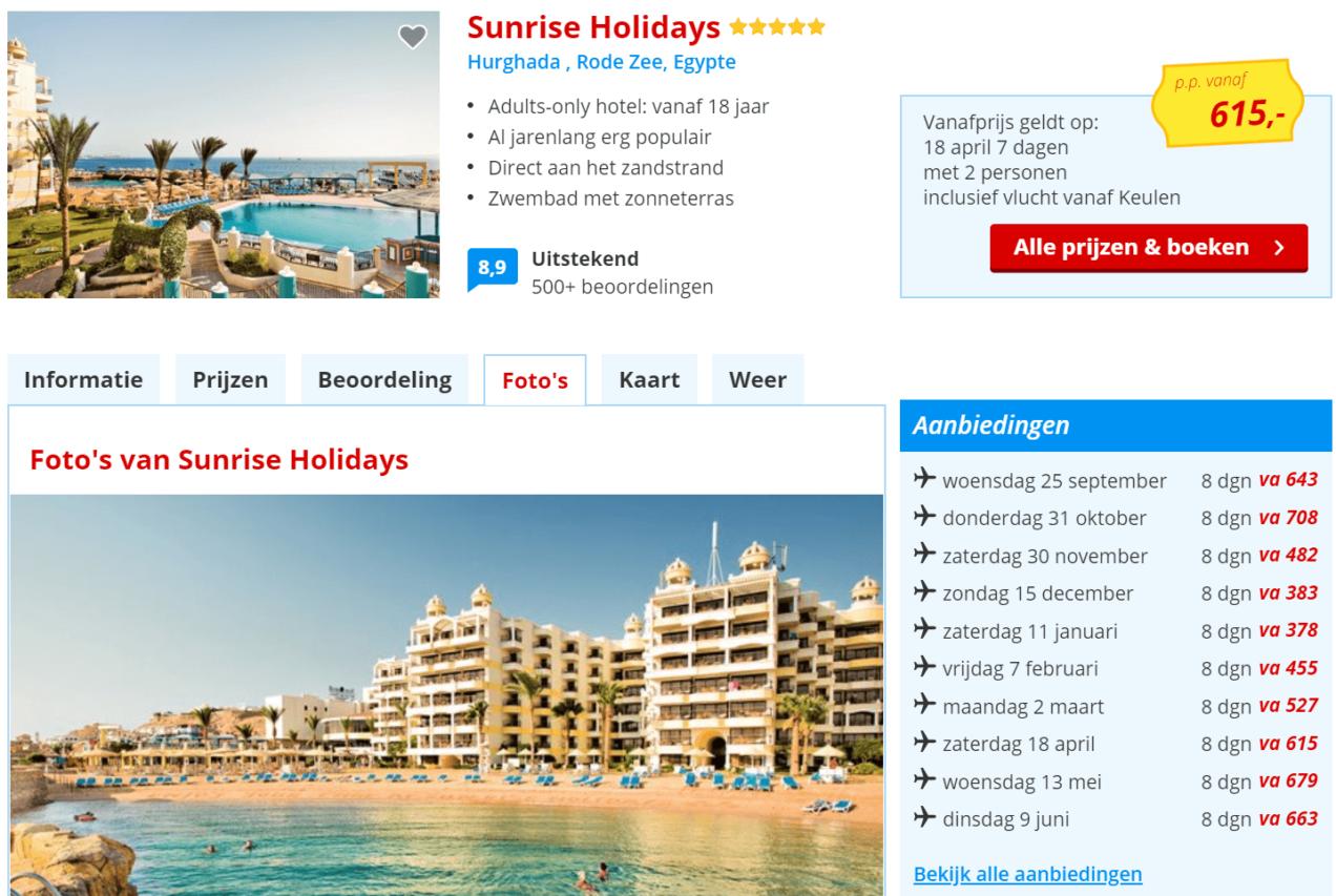 Sunrise hotel Egypte